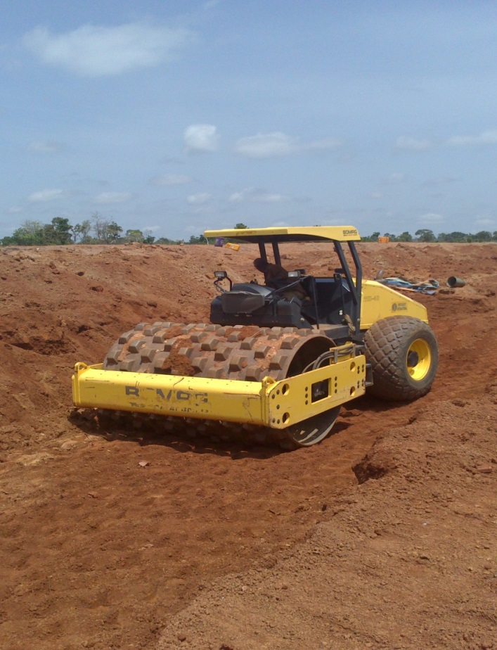 Material spreading and compaction on Dam Embankment for the  Eu Bago Dam Project